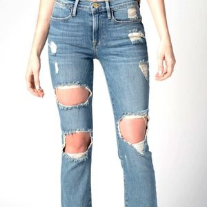 FRAME High Rise Straight Jeans